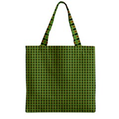 Mod Green Orange Pattern Grocery Tote Bag by BrightVibesDesign