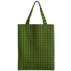 Mod Green Orange Pattern Zipper Classic Tote Bag by BrightVibesDesign