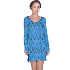 Blue Wavy Squiggles Long Sleeve Nightdress by BrightVibesDesign