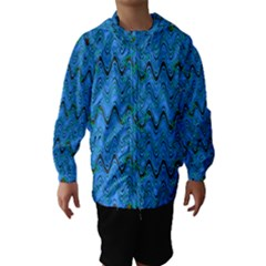 Blue Wavy Squiggles Hooded Wind Breaker (kids) by BrightVibesDesign