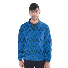 Blue Wavy Squiggles Wind Breaker (men) by BrightVibesDesign