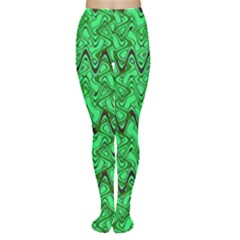 Green Wavy Squiggles Women s Tights by BrightVibesDesign