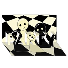 Chess Pieces Party 3d Greeting Card (8x4)  by Valentinaart