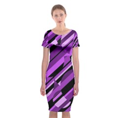 Purple Pattern Classic Short Sleeve Midi Dress by Valentinaart