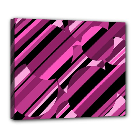 Magenta Pattern Deluxe Canvas 24  X 20   by Valentinaart
