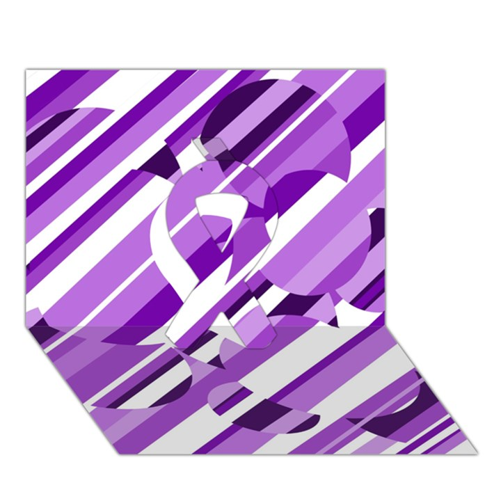 Purple pattern Ribbon 3D Greeting Card (7x5)