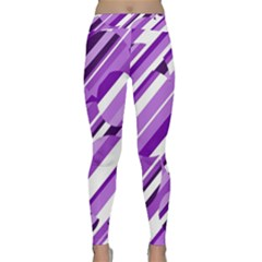 Purple Pattern Yoga Leggings  by Valentinaart