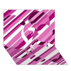 Magenta Pattern Ribbon 3d Greeting Card (7x5)  by Valentinaart