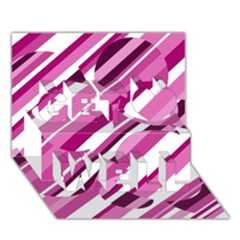 Magenta Pattern Get Well 3d Greeting Card (7x5)  by Valentinaart