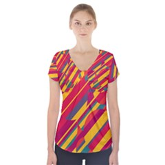 Colorful Hot Pattern Short Sleeve Front Detail Top by Valentinaart