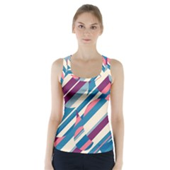 Blue And Pink Pattern Racer Back Sports Top by Valentinaart