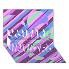 Pink, Purple And Green Pattern You Are Invited 3d Greeting Card (7x5)