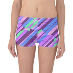 Pink, Purple And Green Pattern Reversible Boyleg Bikini Bottoms by Valentinaart