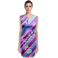 Pink, Purple And Green Pattern Classic Sleeveless Midi Dress by Valentinaart