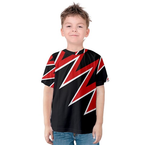 Black And Red Simple Design Kid s Cotton Tee by Valentinaart