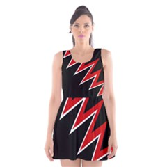 Black And Red Simple Design Scoop Neck Skater Dress by Valentinaart