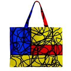 Yellow Abstract Pattern Zipper Mini Tote Bag by Valentinaart