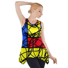 Yellow Abstract Pattern Side Drop Tank Tunic