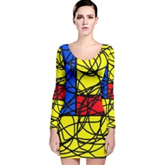 Yellow Abstract Pattern Long Sleeve Velvet Bodycon Dress by Valentinaart
