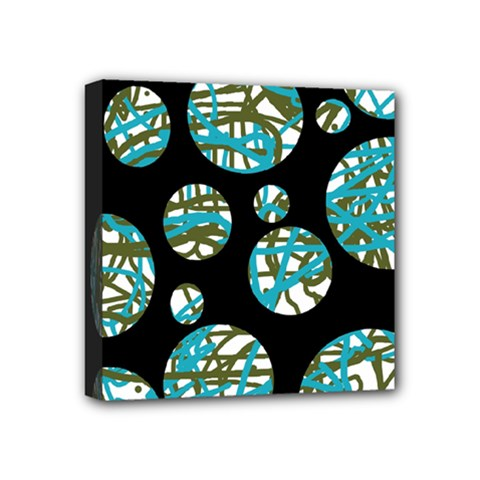 Decorative Blue Abstract Design Mini Canvas 4  X 4  by Valentinaart