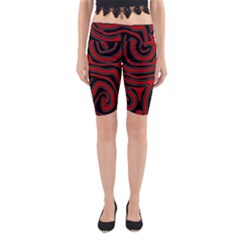 Red And Black Abstraction Yoga Cropped Leggings by Valentinaart