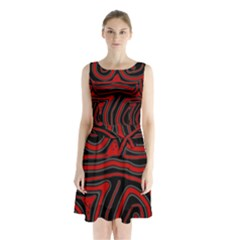 Red And Black Abstraction Sleeveless Waist Tie Dress by Valentinaart