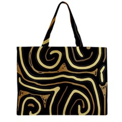 Brown Elegant Abstraction Zipper Mini Tote Bag by Valentinaart