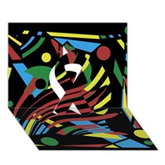 Colorful Decorative Abstrat Design Ribbon 3d Greeting Card (7x5)