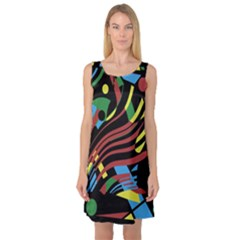 Colorful Decorative Abstrat Design Sleeveless Satin Nightdress by Valentinaart