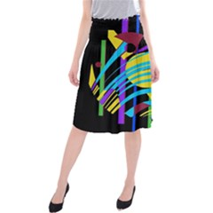 Colorful Abstract Art Midi Beach Skirt by Valentinaart