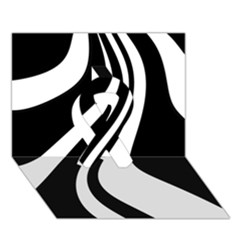 Black And White Pattern Ribbon 3d Greeting Card (7x5)