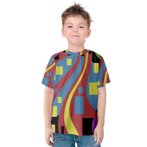 Colorful Abstrac Art Kid s Cotton Tee by Valentinaart
