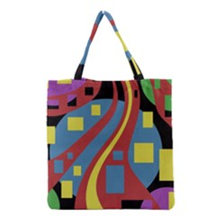 Colorful Abstrac Art Grocery Tote Bag by Valentinaart
