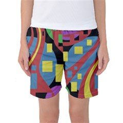Colorful Abstrac Art Women s Basketball Shorts by Valentinaart