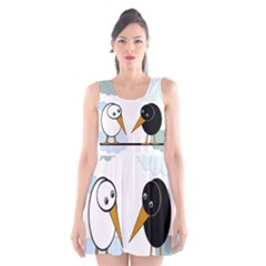 Black And White Birds Scoop Neck Skater Dress by Valentinaart