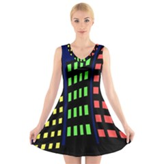 Colorful Abstract City Landscape V Neck Sleeveless Skater Dress