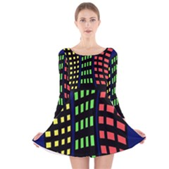 Colorful Abstract City Landscape Long Sleeve Velvet Skater Dress by Valentinaart