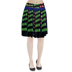 Colorful Abstract City Landscape Pleated Mesh Skirt