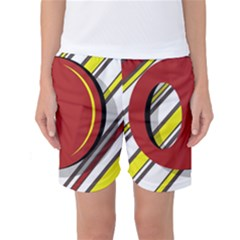 Red And Yellow Design Women s Basketball Shorts by Valentinaart