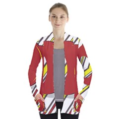 Red And Yellow Design Women s Open Front Pockets Cardigan(p194)