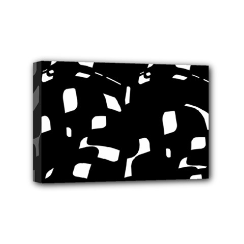 Black And White Pattern Mini Canvas 6  X 4  by Valentinaart