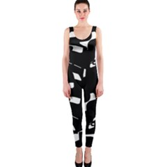 Black And White Pattern Onepiece Catsuit by Valentinaart