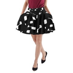 Black And White Pattern A Line Pocket Skirt