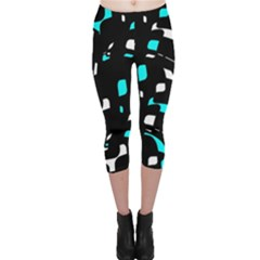 Blue, Black And White Pattern Capri Leggings  by Valentinaart