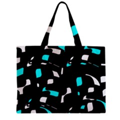 Blue, Black And White Pattern Zipper Mini Tote Bag by Valentinaart