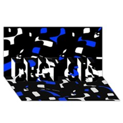 Blue, Black And White  Pattern Best Sis 3d Greeting Card (8x4)  by Valentinaart