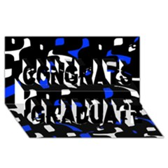 Blue, Black And White  Pattern Congrats Graduate 3d Greeting Card (8x4)  by Valentinaart