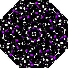 Purple, Black And White Pattern Folding Umbrellas by Valentinaart
