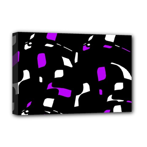 Purple, Black And White Pattern Deluxe Canvas 18  X 12   by Valentinaart