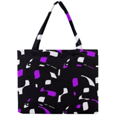 Purple, Black And White Pattern Mini Tote Bag by Valentinaart
